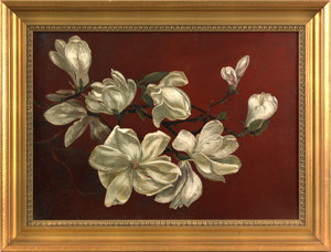American School(late 19th c.), oil on canvas flora