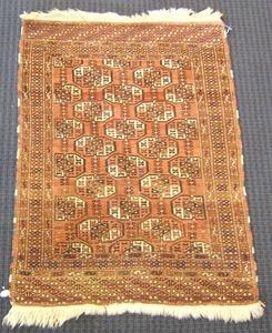 Turkoman throw rug, ca. 1930, 4'4