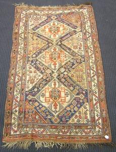 Caucasian throw rug, ca. 1910, 8' x 4'3