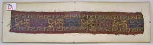 Incan sash remnant with bird motif, 1200 AD, 3 1/4