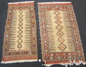 Two Sumac throw rugs, 6' x 3'3
