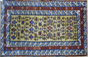 Sechour throw rug, ca. 1900, with yellow field and