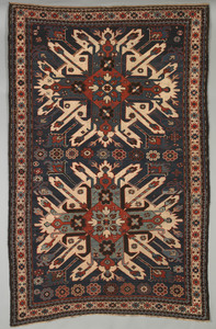 Eagle Kazak throw rug, ca. 1900, with 2 medallions