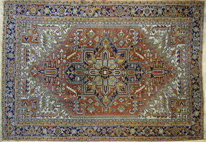 Roomsize Heriz rug, ca. 1950, with central medalli