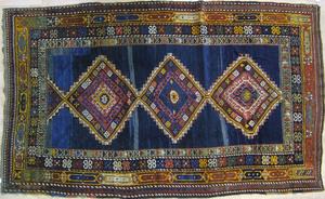 Caucasian throw rug, ca. 1915, with 3 medallions o