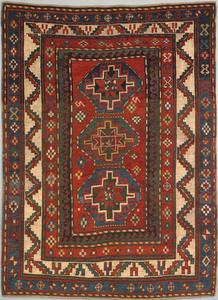 Moghan Kazak throw rug, ca. 1900, with 3 medallion
