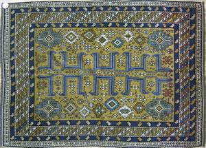 Kuba throw rug, ca. 1900, with a mustard field and