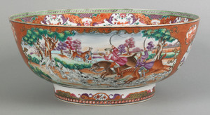Important Chinese export porcelain punch bowl