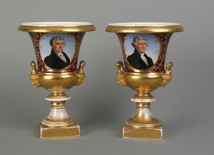 Rare pair of Paris porcelain urns