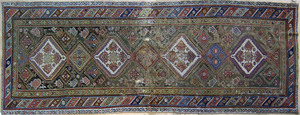 Four oriental throw rugs, ca. 1920, largest - 10''