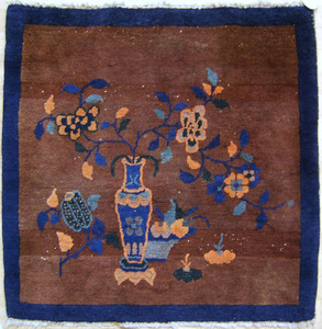 Two Chinese throw rugs, 4'9
