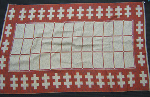 Mexican red and grey woven rug, 9'3