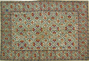 Suzanni wall hanging, ca. 1900, with overall flora