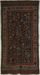 Kashgai throw rug, ca. 1910, with navy field and i