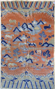 Chinese pictorial rug, ca. 1920, 7'4