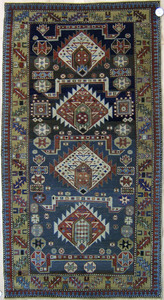 Shirvan throw rug, ca. 1900, with 4 medallions and