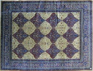 Semi antique roomsize Indian rug with repeating me