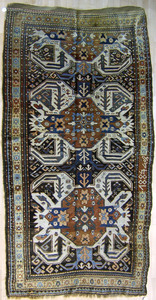 Kurdish Kazak long rug dated 1887, with 2 crab med