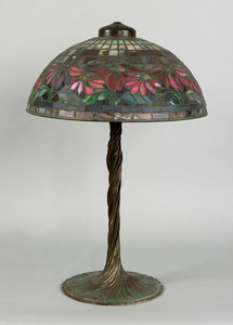 Exceptional Tiffany Studios poinsettia table lamp,