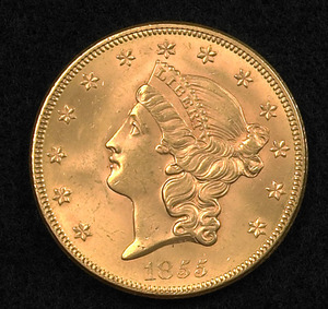 1855 U.S. Liberty Head double eagle $20 gold coin.