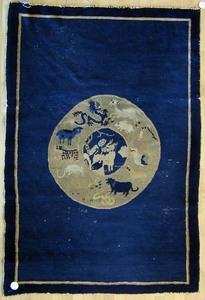 Chinese throw rug, ca. 1920, 6' x 4'.