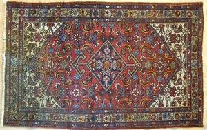Two Hamadan throw rugs, ca. 1930, 5'2