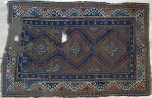 Kazak throw rug, ca. 1910, 7'4