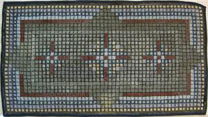 Three geometric hooked rugs, mid 20th c., largest1