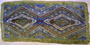 Two semi-antique Kilim long rugs, 12'9
