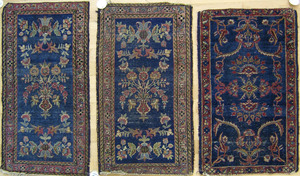 Three semi antique mats, together with a throw rug