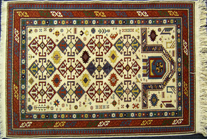 Contemporary Kazak throw rug, 61 1/2