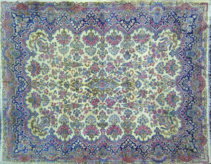 Roomsize Kirman rug, ca. 1930, with overall floral