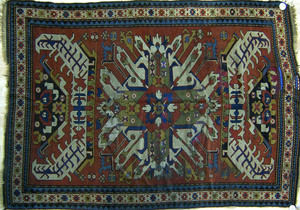 Eagle Kazak throw rug, ca. 1900, 6'9