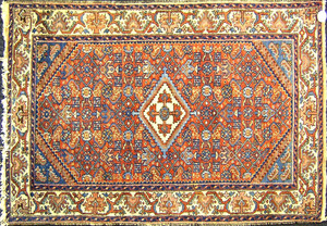 Two Hamadan throw rugs, ca. 1920, 5'8