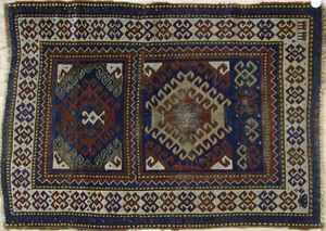 Two Kazak throw rugs, ca. 1910, 5' x 3'3