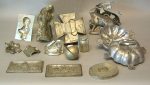 Pewter and tin ice cream molds, ca. 1900, to inclu