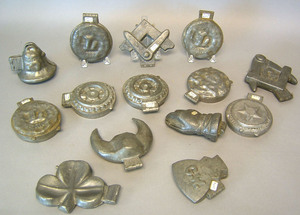 Fourteen pewter ice cream molds, ca. 1900, to incl