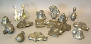 Sixteen pewter ice cream molds, ca. 1900, to inclu