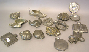 Fifteen pewter ice cream molds, ca. 1900, to inclu