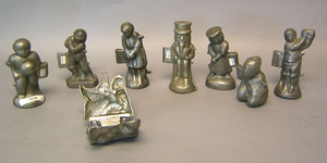 Eight pewter figural ice cream molds, ca. 1900, to