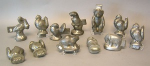 Twelve pewter animal form ice cream molds, ca. 190