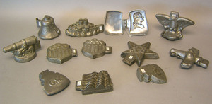 Twelve pewter ice cream molds, ca. 1900, most of p