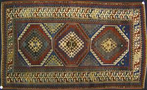 Kazak throw rug, ca. 1900, with 3 medallions and r