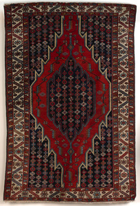 Northwest Persian throw rug, ca. 1910, with centra