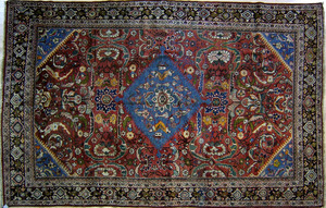 Persian Mahal rug, ca. 1930, with central blue med