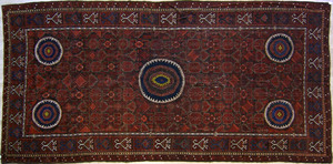 Turkoman long rug, ca. 1910, with 5 circular medal