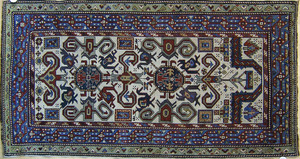 Daghestan throw rug, ca. 1910, with perepedil desi