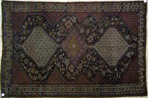Khemseh throw rug, ca. 1910, with 3 medallions on