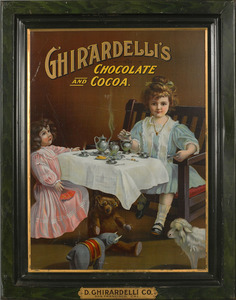 Ghirardelli's Chocolate painted tin trade sign, de