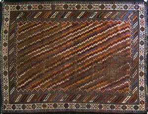 Shirvan throw rug, ca. 1910, 7'5